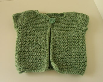 Green Vest for 3 or 4 year old w/ Vintage Button OOAK