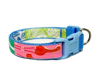Dog Collar Made from Lilly Pulitzer Beach Patch Fabric Size: Your Choice