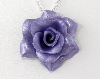 Light Purple Rose Pendant - Simple Rose Necklace - Light Purple Rose Necklace - Wedding Jewelry - Polymer Clay Rose - Ready to Ship #235