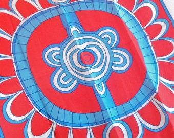 Haida Tribe - a rare, collector's, vintage 1970's Vera Neumann Native American Pure Silk Art Scarf - 31 inches