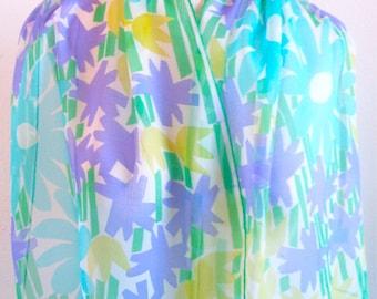 "Summer Bloom Watercolor - a vintage 1960's Vera Neumann ""Verasheer"" Lucky Ladybug Scarf"