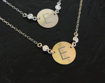 Engraved Katie Holmes Initial Necklace With Genuine Diamonds - Yellow or White 14K GOLD 11mm Circle Personalized For You