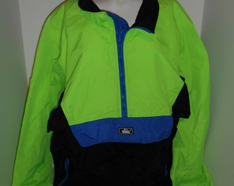 Vintage 80s 90s NEON   WOOLRICH  windbreaker wind breaker jacket coat   color blck