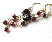 Garnet and Gold Dangle Earrings Trio of Earrings January Birthstone