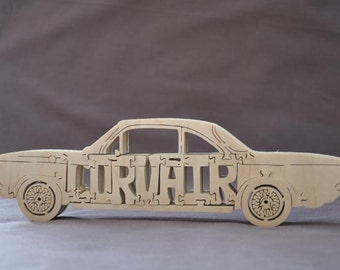 Vintage Corvair Car Puzzle Wooden Toy Hand Cut with Scroll Saw