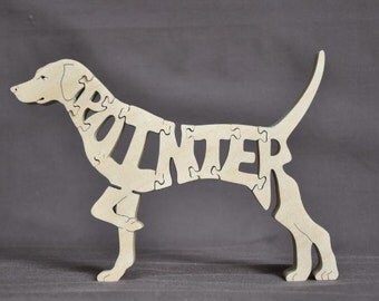 English Pointer Dog Puzzle Wooden Toy Hand Cut with Scroll Saw