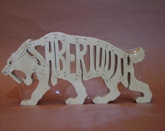 Sabertooth Cat Pre Historic Dinosaur Animal  Wooden Puzzle Toy  Hand  Cut  with Scroll Saw