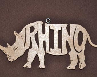 Rhino Rhinoceros Animal  Ornament Wooden Figure Decoration Hand Cut