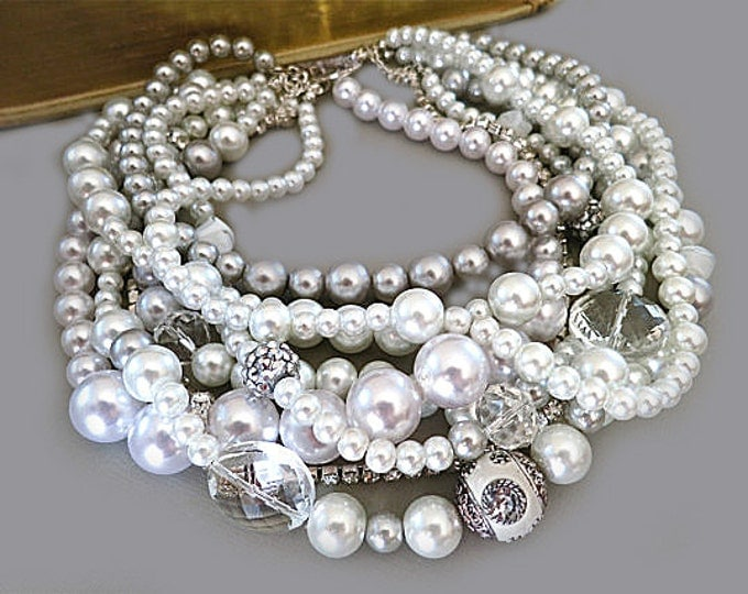 Chunky Pearl Crystal Wedding Necklace Vintage Bridal Choker