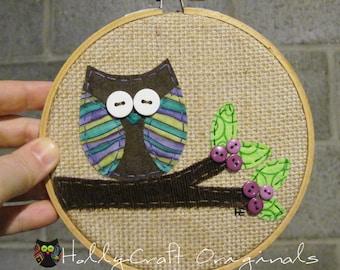 Embroidery Hoop Art, Owl Hoop Art, Owl in Tree Applique,Textile Artwork, Owl Art, Embroidery Art