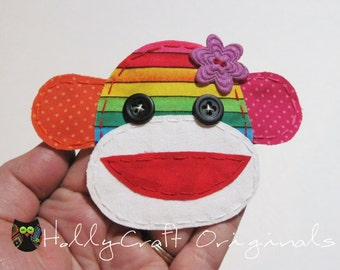 Rainbow Sock Monkey Applique, Rainbow Monkey Patch,Sock Monkey applique, Rainbow, Sock monkey, Monkey