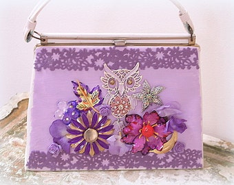 Purple Owl Handbag Flower Jewelry Purse Handpainted One-of-a-Kind Mixed Media Art Purse