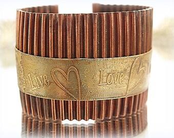 Live Love Laugh Etched Brass & Copper Bracelet Original Design Wide Copper Cuff Bracelet