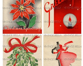 Vintage Christmas 1930s Art Deco Christmas Card Digital Download 348 - by Vintage Bella