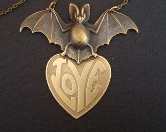 Gothic Necklace Jewelry, Vampire Bat Carrying Big Love, Metal Bonded, NOT Glued, USA, Handmade