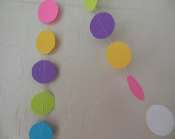 Paper Circle Garland - Turquoise, Neon Green, Gold, Neon Pink, Purple and White