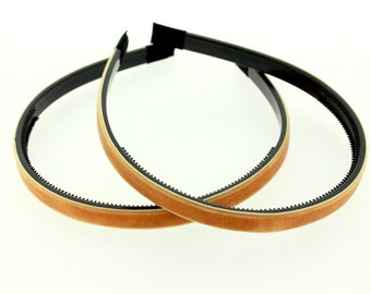 """2 pieces - 10mm (3/8"""") Velvet Lined Headband with Teeth in Tangerine - Hair Accessories"""