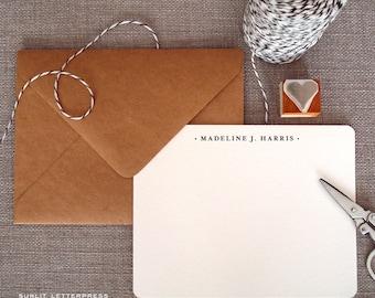 Custom Letterpress Note Cards - Set of 50 w/Kraft Envelopes - Tradition Design