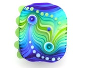 Handmade Lampwork glass focal bead Blue Green
