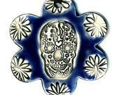 Day of the Dead Skull Flower Ceramic Necklace in Blue