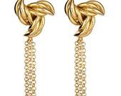 "Large 14k yellow gold plate ""Ninja"" earrings. Fun, fierce, bold and glamorous with chain fringe."