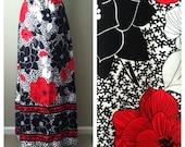 SALE.... vintage 70s black & red floral maxi skirt / hippie / boho / bold print