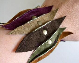 Mullticolored Suede and Leather Cuff