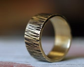 Gold Wedding Band - Mens Gold Ring - Gold Wedding Ring - 14k Gold Ring - Rustic Ring - Woodgrain Texture Band- Custom Personalized - 10mm