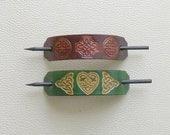 Retro Leather Hair Barrettes, Celtic Knot Barrettes, Hippie Hair Barrettes