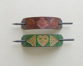 Retro Leather Hair Barrettes, Celtic Knot Barrettes, Hippie Hair Barrettes