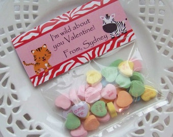 Printable Valentine Wild Animals Large Bag Toppers