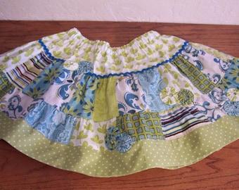 Girls Patchwork Twirl Skirt size 6X 7 Summer Skirt Aqua and Lime Print Skirt  Free Shipping