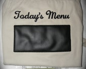 Ready to Ship SALE Menu Chalkboard APRON Embroidered Kitchen BBQ Barbecue 34""