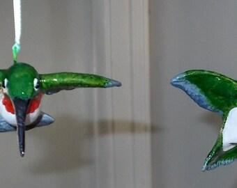 Hand Sculpted Clay Hummingbird Ornaments (one per order)