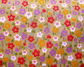 Japanese Fabric Plum Blossoms Half Yard (F25) Flower Fabric 110cm x 50cm Light Golden Khaki