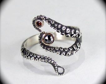 SALE - Wicked Tentacle Ring w/ Red Cognac and Black Diamond, Wedding Band, Engagement Ring, Occasion