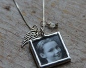 Angel Wing Custom Photo Necklace, Memorial Photo Charm, Remembrance Pendant, Grief, Loss, Silver Angel Wing Necklace, Custom Photo Charm