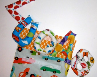My Little Stuffed Name Pouch in Cars, Trucks and Motorcycles - Blue, Orange or Green