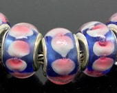 Silver Lampwork Glass Beads - Fall / Winter colors Carnation & Ice Blue, fits All European Style Add a Bead Jewelry Gpnd-016