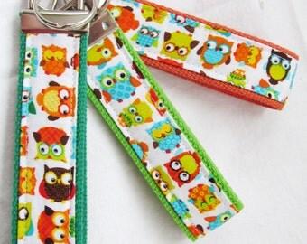 KeyFob Key Chain Wristlet in Mini Woodland Owls - Choose Webbing Color - Fabric Keychain