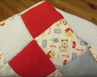Baby Quilt FREE Shipping - My Dog Spot  Bassinet / Stroller Quilt of Cotton-Flannel  is handmade - puppy dog blanket - blue, red, white