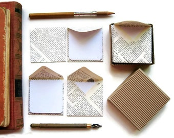 Mini Envelopes, Encyclopedia Paper, Recycled Paper, Stationery Set, Small Envelopes, Square Cards, Blank Note Cards, White Cards