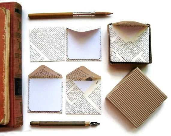 Encyclopedia Paper, Mini Stationery Set, Vintage Encyclopedia, Square Envelopes, Blank Note Cards, White Cards, Greeting Cards