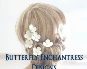 Bridal Hair Flowers, Beach Wedding Hair Accessories - 6 Ivory Adora Hydrangea Hair Pins - Pearl Centers