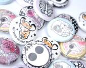 "1""  Button Mix Bag Choice of 2 Original Zombie Romance Designs"