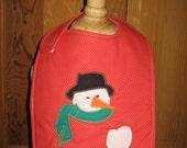 Maine made snowman christmas holiday baby feeding bib