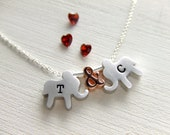 Elephants Jewelry Necklace, Two Love Elephants - Sterling Silver Jewelry / Rose Gold - Initialized Personalized Jewely