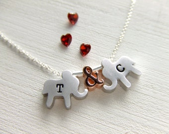 Love Elephants Jewelry Necklace, Silver Elephant, Rose Gold Ampersand, Personalized Jewelry, Gift for Her, Girlfriend, Valentine's Day Gift