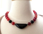 Red and black agate short bold statement necklace. SALE