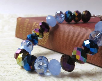 Blue and black bracelet glass faceted crystals SALE 50% off listed price